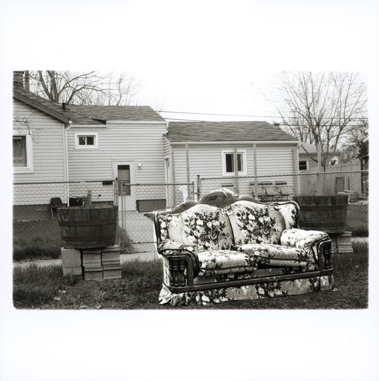 Forhave i boligkvarter ved Detroit River Polaroid
